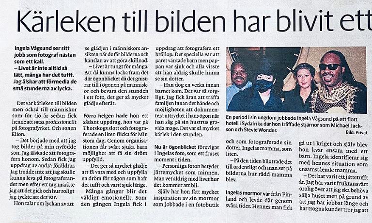 St-tidningen, Fotograf Vågsund från Stenungsund, barnfotograf, familjefotograf.